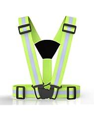 MANLERSPORT alta visibilidad ajustable arnés elástica chaleco reflectante de seguridad y combinado brazalete, perfecto para correr, trotar, andar en bicicleta, caminar, andar en motocicleta, el mejor mecanismo de traslación alrededor