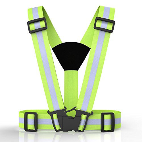 Reflective Running Vest, Safety Vest Gear High Visibility Adjustable Belt Bands Lightweight Portable for Runner Outdoor Activities Running, Motorcycle Riding, Cycling, Walking, Jogging and Hiking