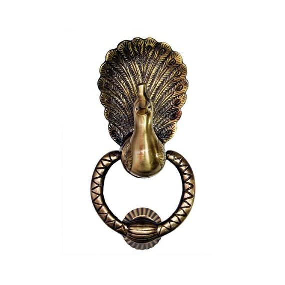 A & Y Tradrers Amazing Heavy Brass Peacock Design Door Knocker (9 Inch)