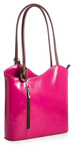 Donne Fatto a mano in pelle italiana borsa a mano, tracolla o zaino. Comprende una borsa di marca deposito protettivo e un fascino 28 x 28 x 8 cm (LxAxP) Rosa (Pink - Tan Trim)