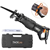 TACKLIFE Reciprocating Saw, 850W, 2800SPM, Rotary Handle(90° Left & Right), LED Light, Variable Speed, 2 Saw Blades (Wood 6T and Metal 14T), Carrying Box - RPRS01A