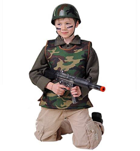 KarnevalsTeufel Kinderkostüm Armee-Weste in grün-braunem Tarnmuster ärmellos Spielzeug-Schutzweste Soldaten Schutz Militärweste