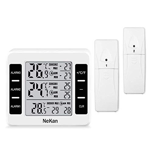 QIBINGSHY Thermometer Innen Außen Wetterstation Thermometer Digital Innen Außen mit 2 Sensor Wasserdicht Max/Min Records ℃/℉ Schalter