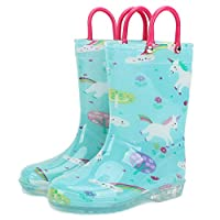OldPAPA Rain Boots for Kids Lightweight Wellingtons Rubber Boots Boys Girls Light Up Wellies with Handles