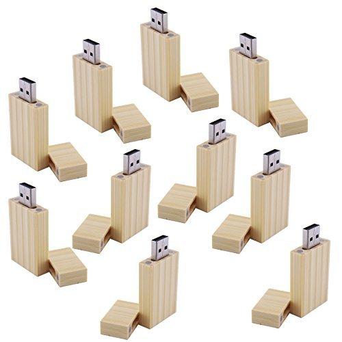 10 Stück 16GB Bambus Rechteck USB-Stick Sauber USB-Flash-Laufwerk 16G Geschenk für Teens