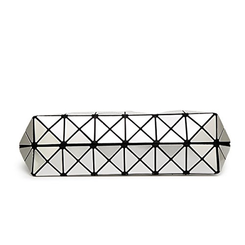 Sacchetto Di Spalla Di Cuoio Dell'unità Di Elaborazione Di Tote Della Grata Geometrica Di Modo Delle Donne Black
