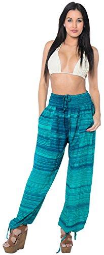La Leela morbido dolce rayon donne leggeri spiaggia usura coprire costumi da bagno bikini donne peluche pantaloni con coulisse in forma salone nightwear tasca del pigiama rilassato Mare Verde