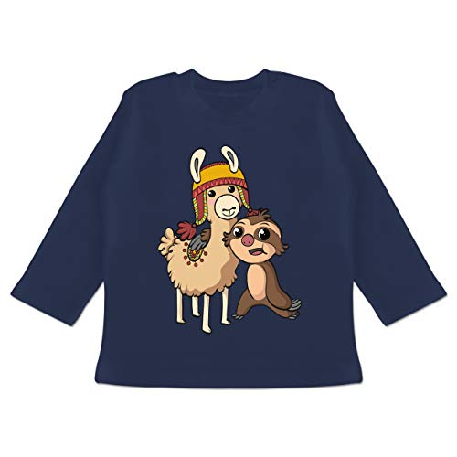 Up to Date Baby - Freundschaft Motiv Lama Faultier - 6-12 Monate - Navy Blau - BZ11 - Baby T-Shirt Langarm