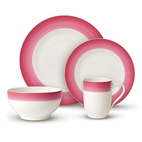 Villeroy & Boch Colourful Life Berry Fantasy Ensemble de vaisselle, Set de 8 pièces, Porcelaine Premium, Blanc/Rose