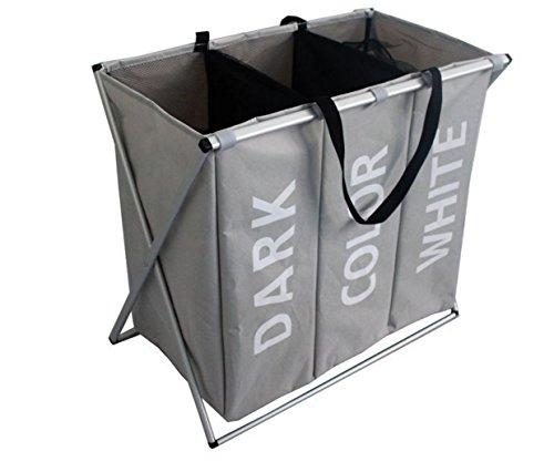 CJDDPO Wäschekorb, Aluminiumrohr Faltbare 3-Fach-Wäschesack, Aufrechte Tuch Wäsche Sortierer Mit Aufbewahrungstasche, Badezimmer Schlafzimmer Schmutzige Kleidung Tasche,Gray -
