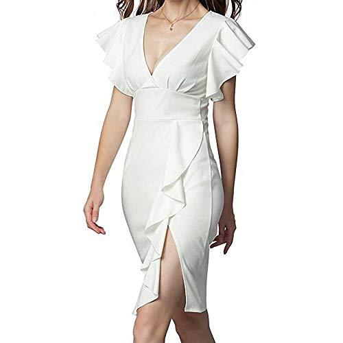 Sommer Rüschen Ärmel Kleid mit Reißverschluss Frau Sexy V-Ausschnitt Midi Kleider Chic Arbeit Bleistift Kleider S 3XL ()