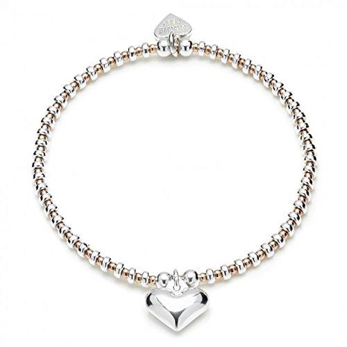 ANNIE HAAK Charm Bracelet cuori d'argento con 925 Cuore charme 3mm perle ovali Sterling Silver soffiato, e 2 mm 14ct Rosa Perline Oro