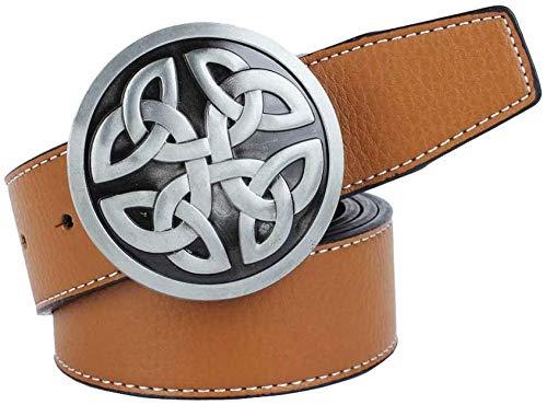 Gürtel Shortenedirregular Muster Leder Stiftwölbungsgurt Unisex Art und Weise Klassische Retro Wilde Länge (Color : Brown)