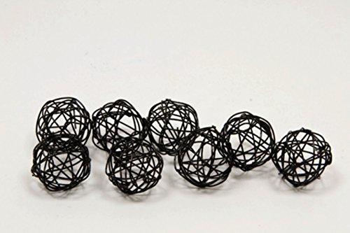12 Boules déco métal noir 2 cm