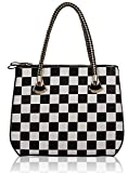 Large Size Ladies Fashion Designer Quality Faux Leather Three Zip Compartments Grab Shoulder Bag Women's Checkered Print Trendy Stunning Handbag CWS00124A CWS00289 CWS00145 CWS00135 (CWS00135-Black/White)