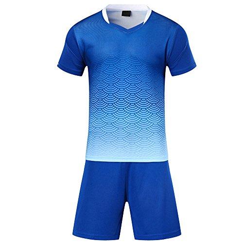 BOZEVON Kinder Jungen Fussball Trikots Eltern-Kind-Ausrüstung von Männer Sports Trainingstrikots Trikot und Hose, Blau,EU XS=Tag S, Kind(145-156CM)