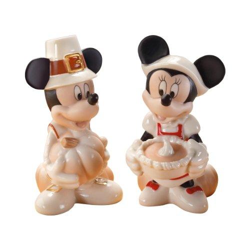 'lenox–statuetta topolino e minnie thankful gioia salt & pepper