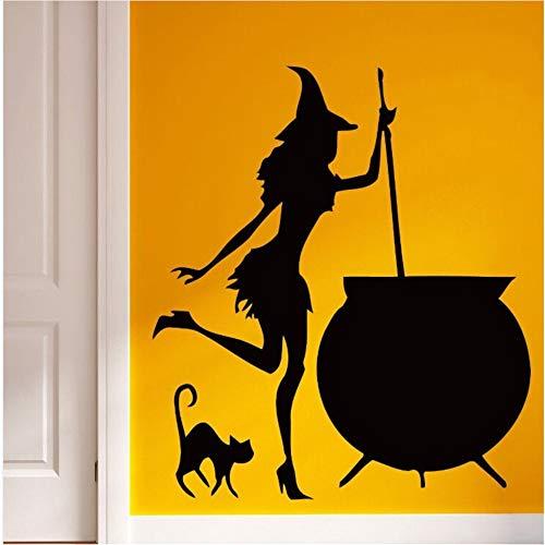 Hlonl Küche Decor Vinyl Wandtattoo Hexenkessel Witty Decor Für Küche Entfernbare Wandaufkleber Kochen Stil Dekoration 57 * 65 Cm
