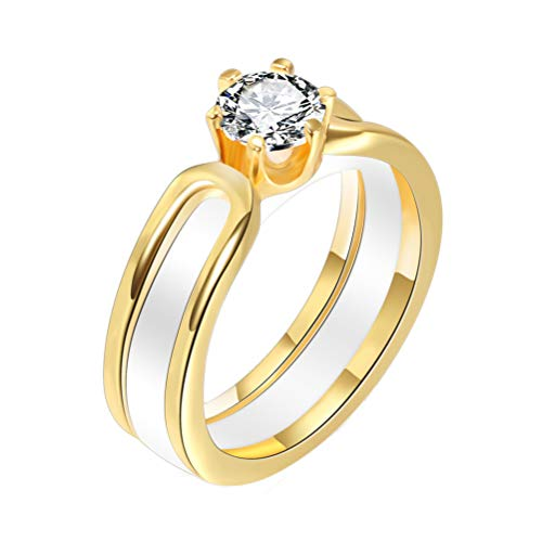 OAKKY Unisex 6MM Glatt Ring Rostfreier Stahl Keramik Plus Zirkonia Verlobung Paar Hochzeitsband Komfort Passen Weiß Gold Größe 52(16.6) (Weiß Gold Prinzessin Schnitt Ring Set)