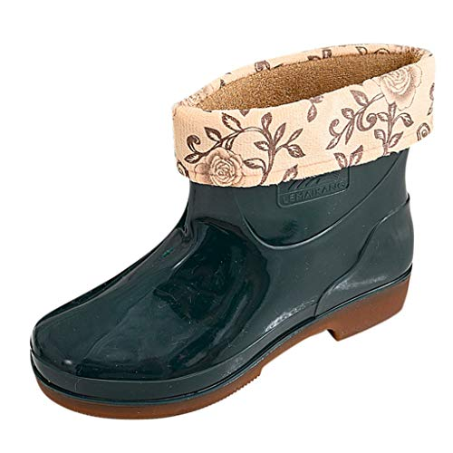 BoyYang federleichte PU Gummistiefel gefüttert Regenstiefel Luna Damen Mid-Calf Regenstiefel Garten Stiefel mit Warme Socken Futter Kurzschaft Gummistiefeletten Chelsea Boots(39 EU,Armeegrün -