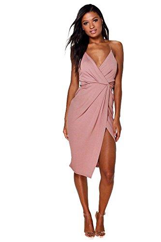 Rose Womens Diane Strappy Wrap Detail Midi Dress