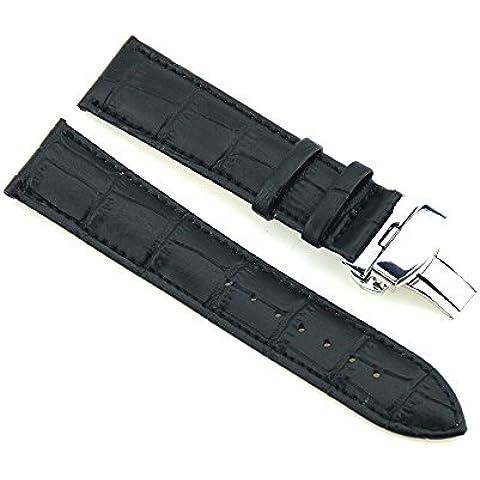 Da polso in pelle Cinturino 24 millimetri del cinturino in acciaio inox Chiusura di distribuzione Alligatore nero