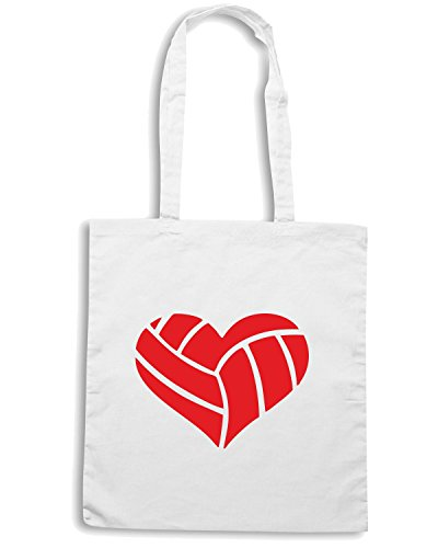 T-Shirtshock - Borsa Shopping SP0142 Volleyball Heart Maglietta Bianco