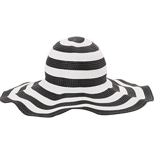 Merssavo Damen Weites Brim Summer Beach Sun Hat Stroh Striped Floppy Elegant Bohemia Cap (Hat Floppy Brim)