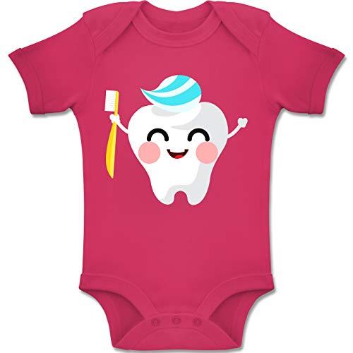 Shirtracer Anlässe Baby - Zahnfee mit Zahnpasta - 1-3 Monate - Fuchsia - BZ10 - Baby Body Kurzarm Jungen Mädchen (Junge Fee Kostüm Ideen)