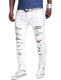 Homme Pantalons Denim Trou Jeans Skinny Cargo Straight Slim Fit Déchiré Cigarette Sans Ceinture