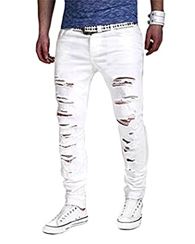 Men¡¯s Slim Fit Zipper Fly Ripped Trousers Stretch Skinny Casual Straight Pants White S