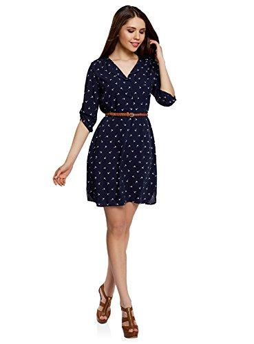 oodji Ultra Damen Jersey-Kleid mit Gürtel, Blau, DE 42 / EU 44 / XL (Weiches Jersey-kleid)