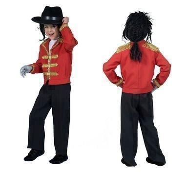 Kostüm Michael Jacke Kind Kids 140 Rot Gold (Fransen Jacke Kostüm)