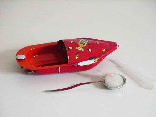 Kerzenboot, groß, aus Recyclingmaterial, Welby, Blech, Blechspielzeug