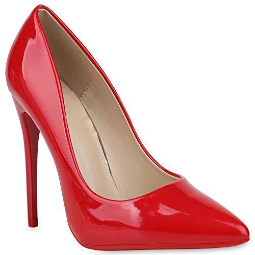 Stiefelparadies Spitze Damen Pumps Lack High Heels Stilettos Klassische Schuhe 153102 Rot 40 Flandell
