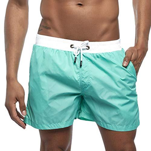 LIGESAY Herren Shorts Frühling Sommer Splicing Schwimmen Trousers Strand Surfen Shorts Bermuda Vintage Golf Boxer Workout Mesh Schwimm Skinny Performance Hoher Solid Woven Boxer