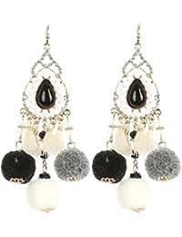 Schmuckanthony Ethno Lange Ohrringe Kristall Klar Kasten Bommel Perlen Kristall Opal Weiß Creme Schwarz Grau