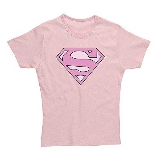 T-Shirt (Donna-L) Superman Skinny Pink [Import anglais]