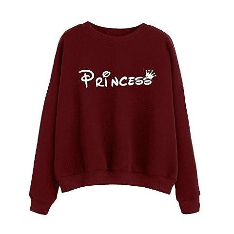 Tonsee Femmes Blouse à manches longues Lettre overs Print Sweatshirt (S, Vin rouge)