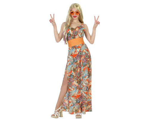 ATOSA 22871 Karnevalskostüm, Damen, Braun/Bunt, - Kostüm Flower Power Hippie Femme