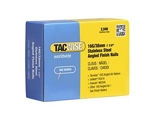 Tacwise Clous de Finition à Angle 16 GA / 38 mm en Acier Inoxydable (Lot de 2 500 Pièces)