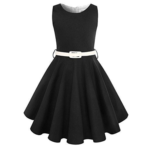 HBBMagic Maedchen Audrey 1950er Vintage Baumwolle Kleid Hepburn Stil Kleid Blumen Kleid Tupfen Kleid (11-12 Jahre, (Schwarz Schule Kleid)