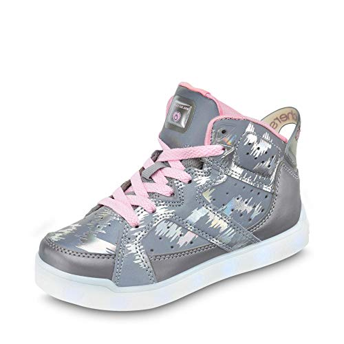 chen LED-Bootie in Camouflage-Optik Textilfutter USB-Kabel, Groesse 39, Silber ()