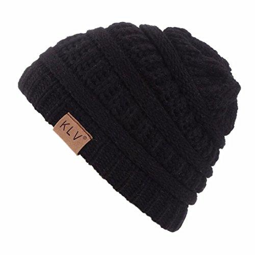LCLrute Unisex Junge Mädchen warme häkeln Winter Wolle stricken Ski Beanie Schädel Slouchy Caps Hut (Schwarz) Stricken Hut Mit Visier Für Baby-jungen