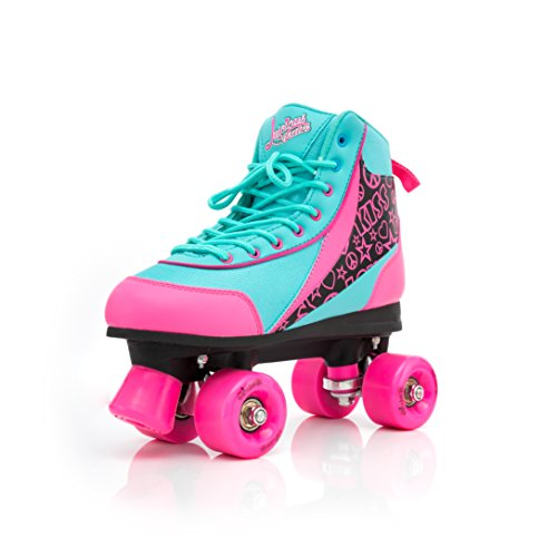 Luscious Skates Retro Disco Rollschuhe Kinder Summer Days EU 38 (schwarz pink blau) - Skate Schuh Größe Größe
