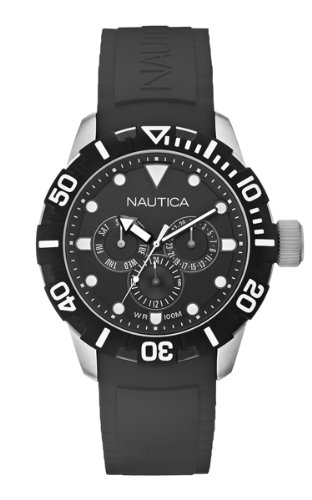 Nautica NSR 101 Unisex Quartz Watch with Black Dial Chronograph Display and Black Resin Strap A13643G