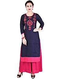 NAVYA CREATIONS Embroidered  Round Neck Cotton Kurti With Rayon Palazzo.