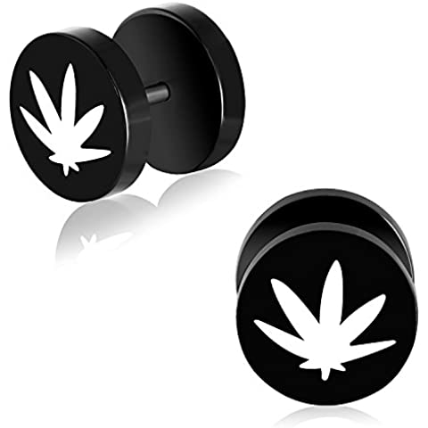 10mm Black Anodized Stainless Steel 2-tone Marijuana Ganja/ Maple Leaf Pair of Faux Fake Ear Plug - K554