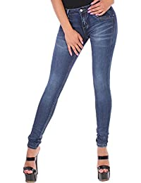 BD Damen Jeans Röhrenjeans Stretch in blau mit Totenkopf-Applikationen