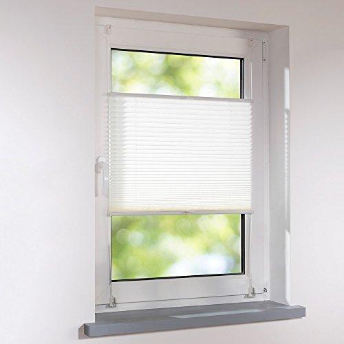 Plissee 130 x 130 cm weiß verspannt Klemmfix ohne Bohren Faltrollo Raffrollo Sonnen- & Sichtschutz
